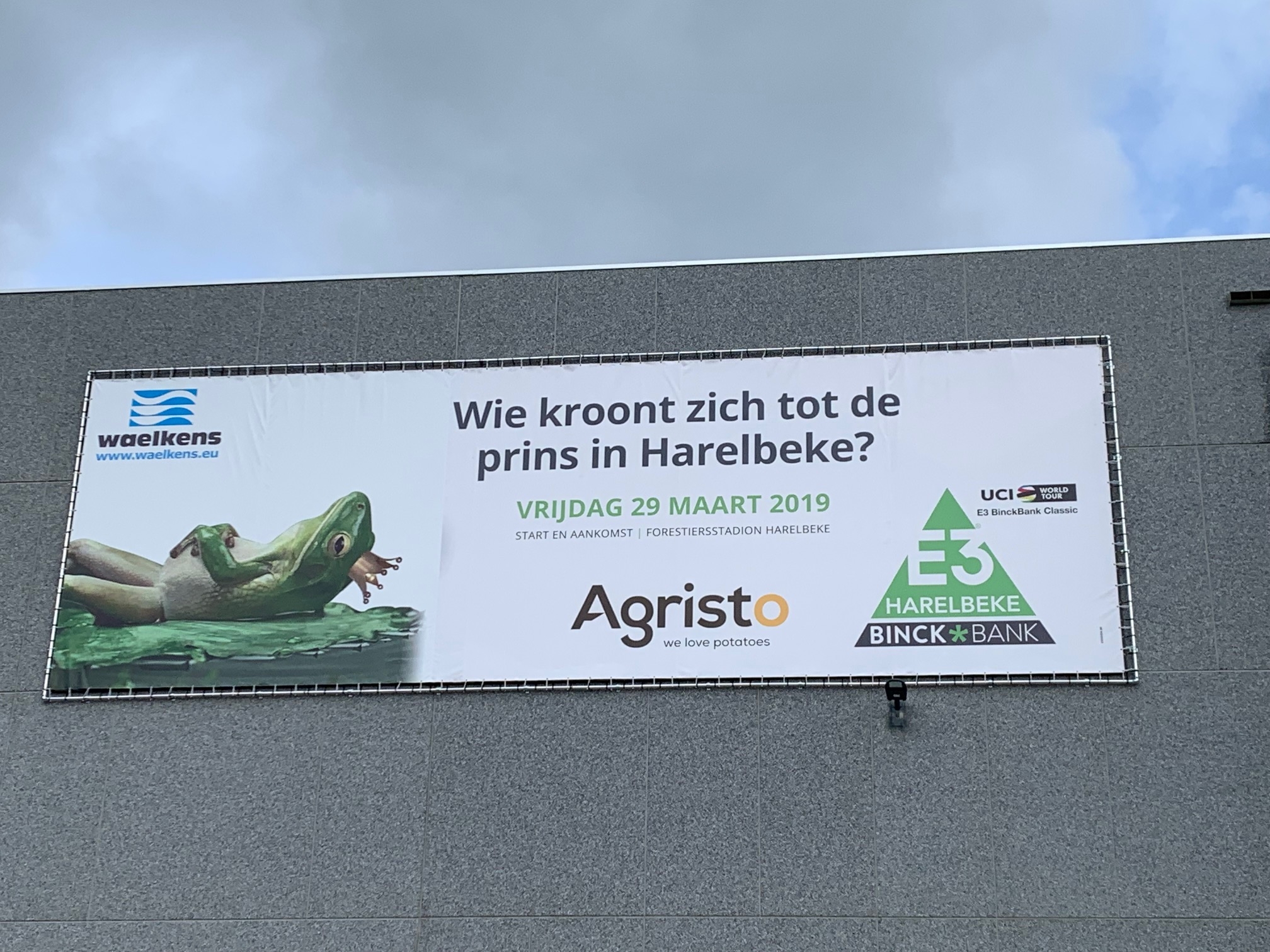 E3-banner voor Agristo door Waelkens